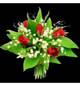 Bouquet  muguet et rose rouge